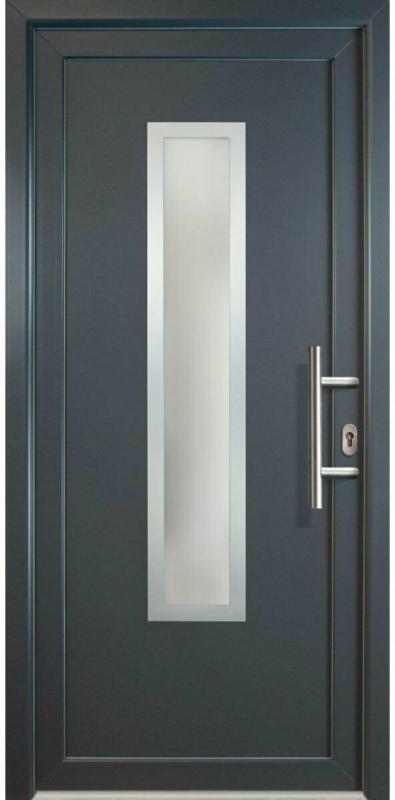 """Haustür """"JM Signum"""" Exklusiv PVC Mod. 32 weiß/titan, Anschlag rechts, 98x208 cm rechts"""