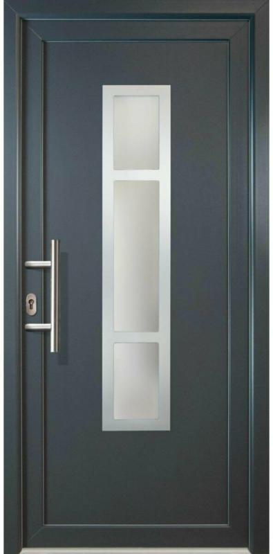 "Haustür ""JM Signum"" Aluminium PVC  Mod. 87, weiß/titan, Anschlag links, 98x208 cm Links"