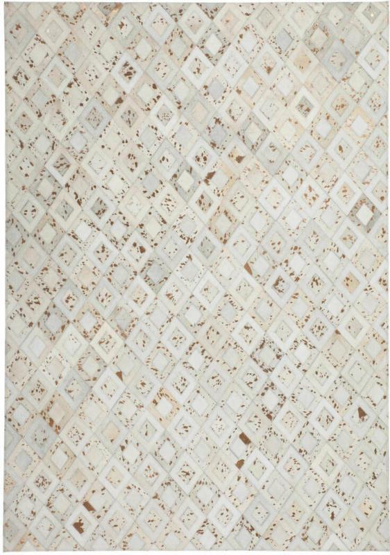 "Lederteppich ""Spark 110"", elfenbein/Chrom 120x170 cm"