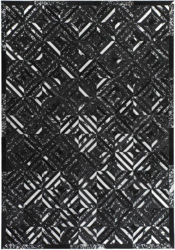 """Lederteppich """"Spark 410"""", schwarz/silber 120x170 cm"""