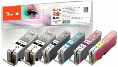 Peach Spar Pack Plus Tintenpatronen, XL-Ergiebigkeit, kompatibel zu Canon PGI-550XL, CLI-551XL