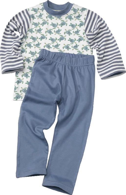 ALANA Kinder Schlafanzug, Gr. 98, in Bio-Baumwolle, weiß, blau