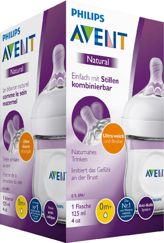 Philips AVENT Babyflasche Natural 2.0 mit Silikonsauger, 125ml