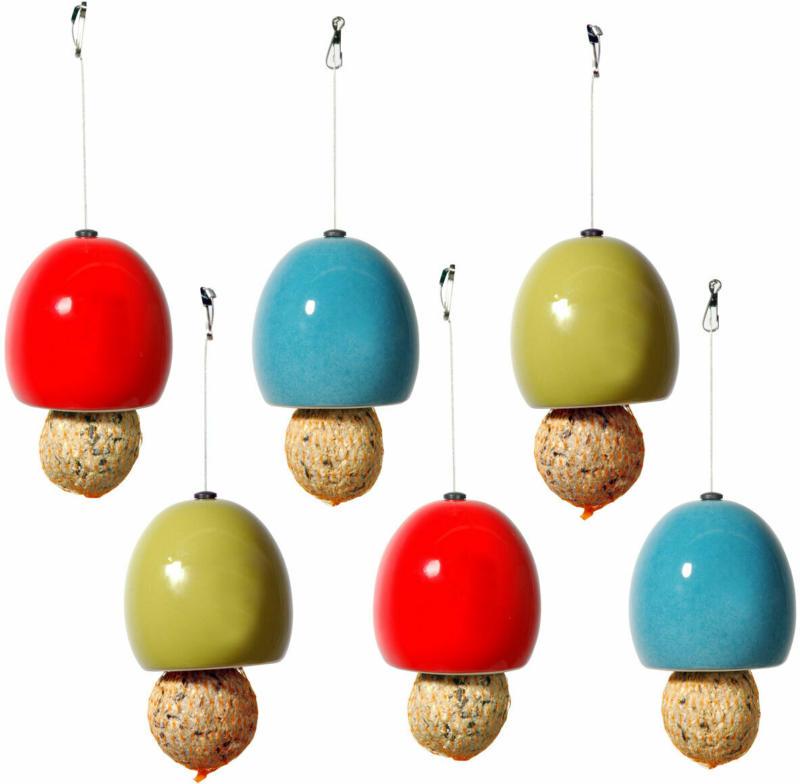 Design-Meisenknödelhalter, 6er-Set, Ø 9,5x9,5 cm, Keramik, Rot/Grün/Blau
