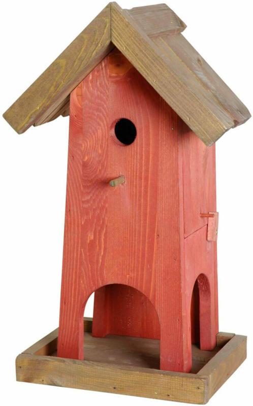 "Vogelhaus ""Red House"", 26,5x18,5x45 cm, Rot/Braun"