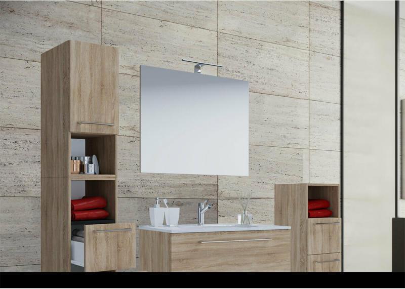 Stand-Waschplatz, 60 cm, 5-teiliges Set, 3 Schubfächer, mit Spiegel, Sonoma-Eiche