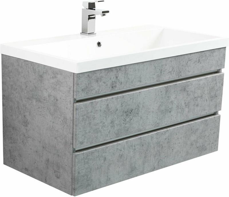 """Badmöbel """"Felini 90"""", beton, mit grifflosen Schubladen grau"""