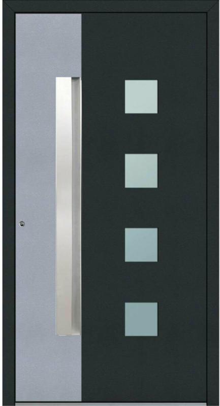 """Aluminium Sicherheits-Haustür """"Genua Exklusiv"""", 75 mm, anthrazit mit silber, 110x210 cm, Anschlag links, RC2-zertifiziert, inkl. Griffleiste Links"""