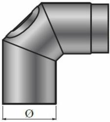 90° Grad Bogen, 120 mm, grau, mit Tür, 3 tlg.
