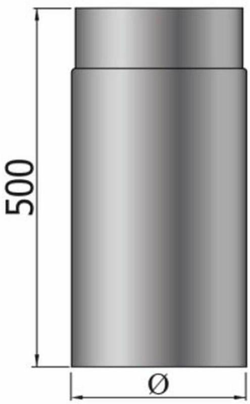 Rauchrohr 500 mm, DM 150 mm, schwarz 150 mm