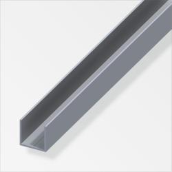 Quadrat U-Profil 7,5mm, Alu blank 2,5m