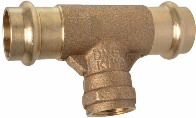 T-Stück, Pressfitting für Kupfer, 22 mmx1/2IGx22 mm, V-Kontur 22x1/2x22 mm