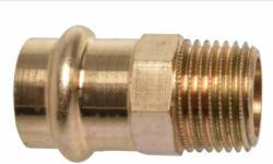 Übergangsstück, Pressfitting für Kupfer, 15 mmx3/4AG, V-Kontur, 1 St. 15 mm | 3/4 | 1