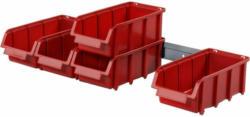 """Sichtlagerkasten-Set """"Visus 2L"""", mit 5m Schiene, rot, 6-teilig"""