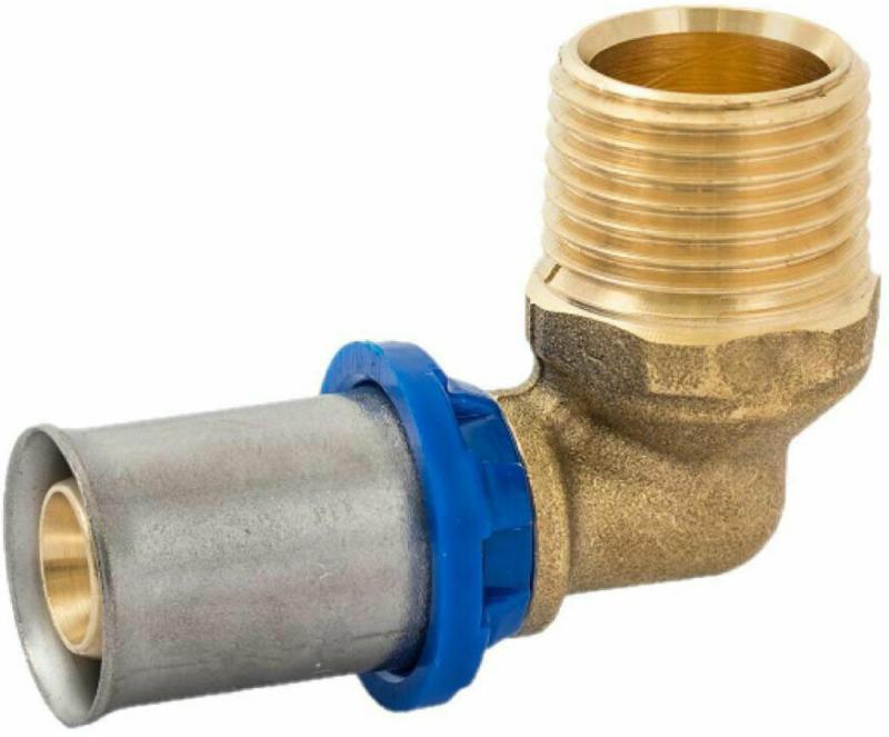 Übergangswinkel, 90°, Pressfitting für Mehrschicht-Verbundrohr, 16 mmx1/2AG 16x1/2 mm Zoll