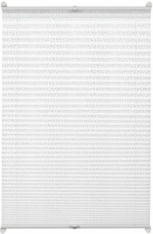 EASYFIX Plissee Ausbrenner-Stoff mit 2 Bedienschienen, ohne Bohren, 90x130 cm, Dot weiß 90x130
