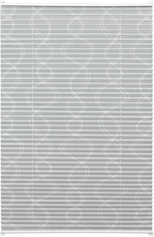 EASYFIX Plissee Dekor mit 2 Bedienschienen, ohne Bohren, 60x130 cm, Curl grau 60x130