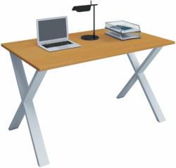 """Schreibtisch """"Lona"""", 80x50 cm, X-Fußgestell, Buche/weiß"""