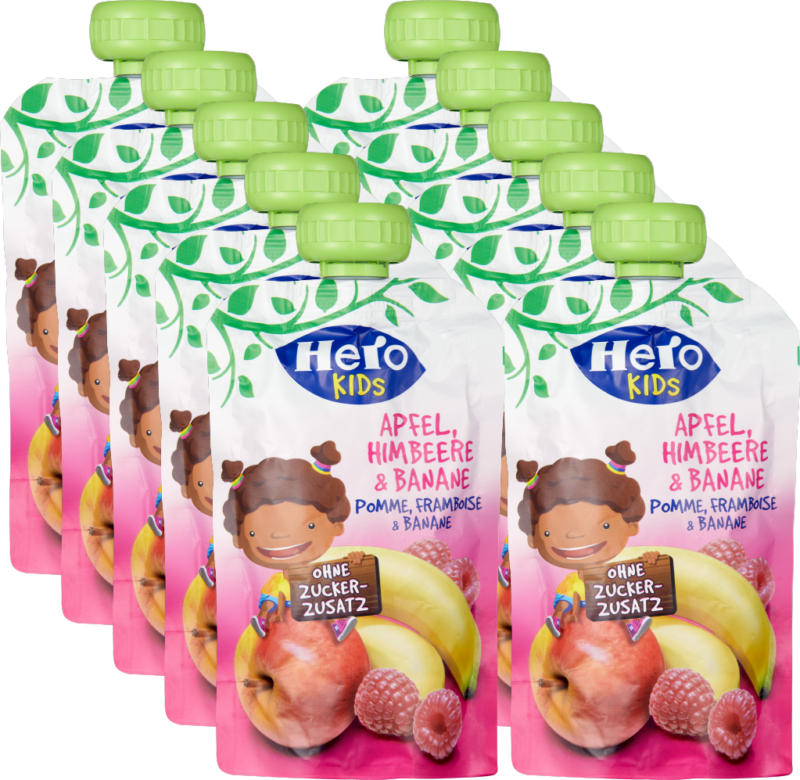 Hero Kids Smoothie Apfel Himbeere Banane , 10 x 120 g