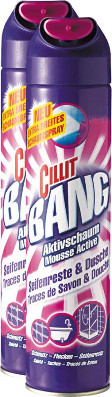 Nettoyant surpuissant Cillit Bang, Mousse Active, Traces de savon & Douche, 2 x 600 ml