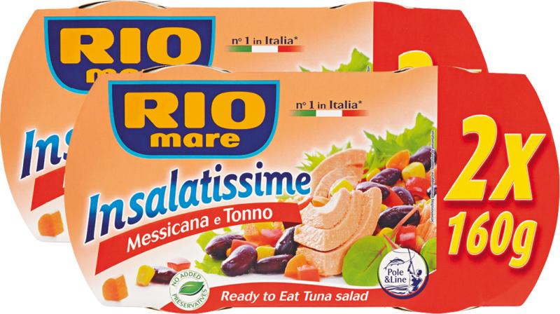 Insalatissime Rio Mare , Messicana et Thon, 2 x 2 x 160 g