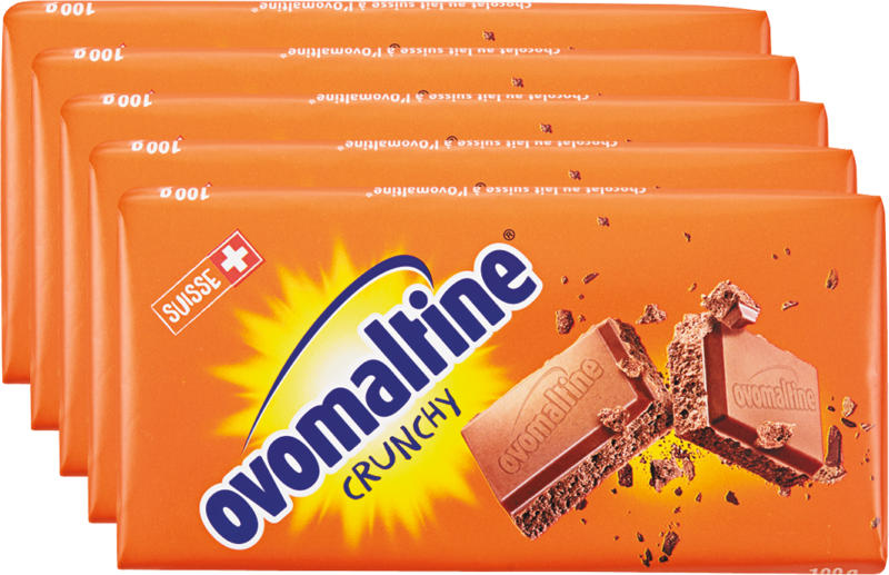 Wander Ovomaltine Crunchy Tafelschokolade, 5 x 100 g