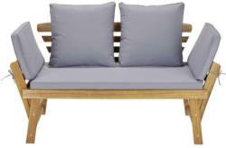 Gartenbank Holz 2-Sitzer Bali mit Liegefunktion und Kissen