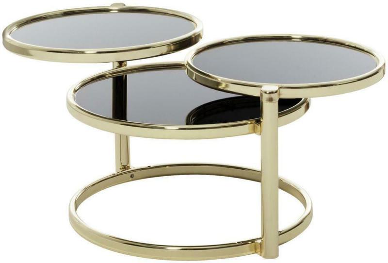 Beistelltisch Schwenkbar mit 3 Glasplatten Susi, Schwarz/Gold