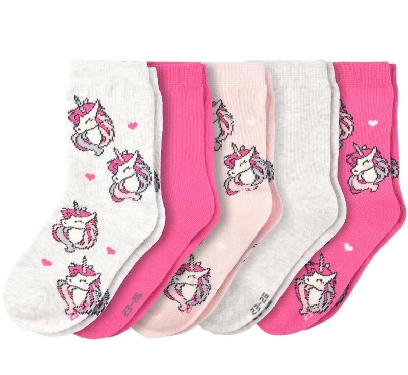 5 Paar Mädchen Socken mit Einhorn-Motiven (Nur online)