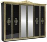 Möbelix Drehtürenschrank mit Spiegel 281,4cm Eliza, Schwarz/Gold