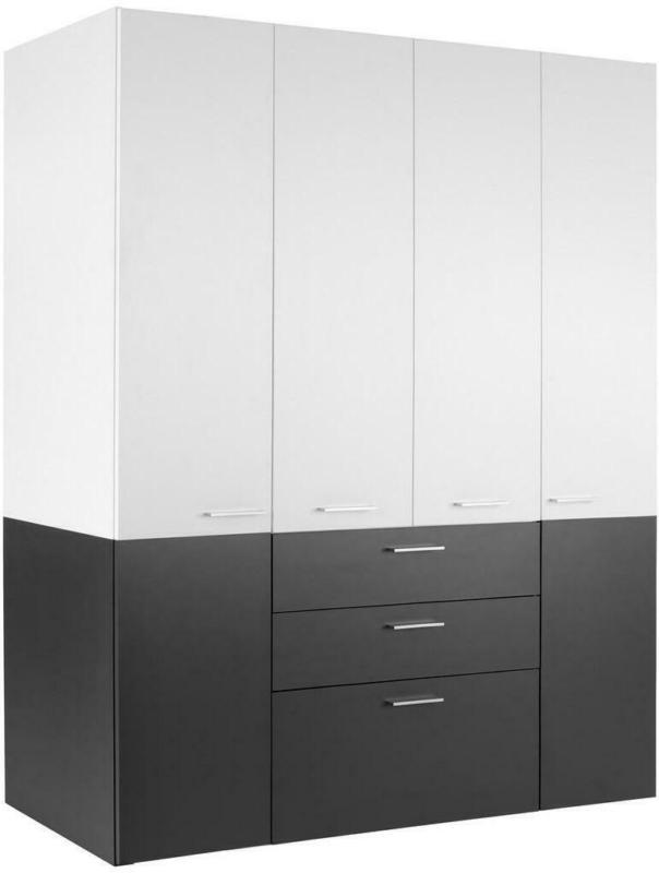 Kleiderschrank mit Laden 163cm Duo, Weiß/Anthrazit