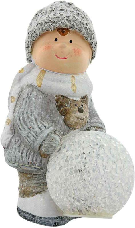 Kind mit LED Schneeball -