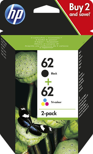 HP 62 Tintenpatrone 2er-Pack Schwarz/Cyan/Magenta/Gelb (N9J71AE)