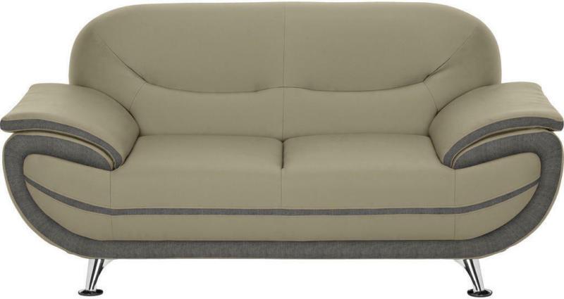 Zweisitzer-Sofa in Textil Braun, Hellgrau