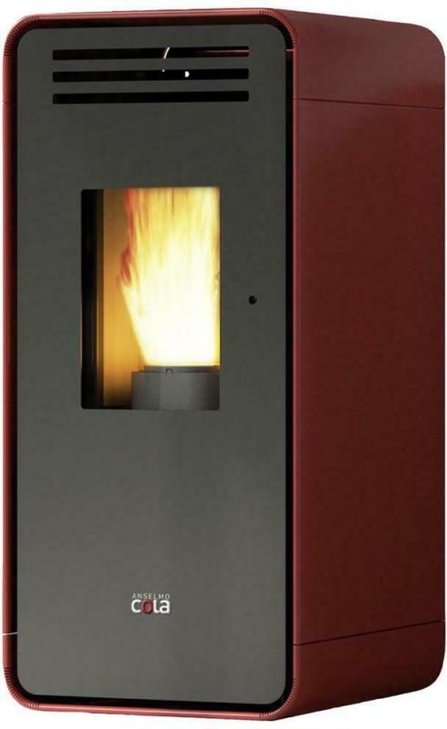 Anselmo Cola Pelletofen Ambra Rot Metall 6,5 Kw mit Wi-Fi