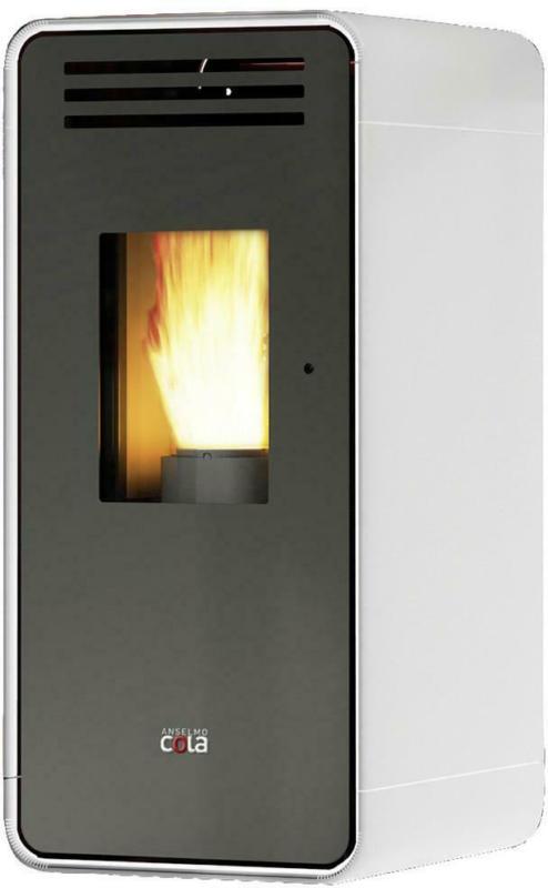 Anselmo Cola Pelletofen Ambra Weiß Metall 6,5 Kw mit Wi-Fi