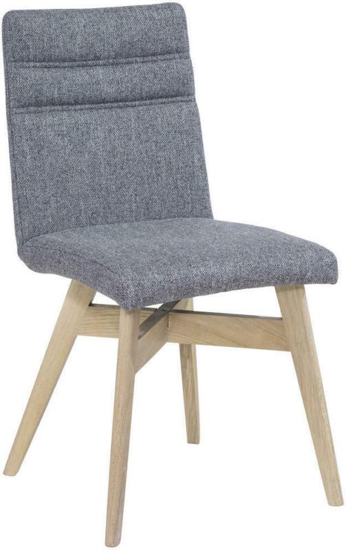 Stuhl in Holz, Textil Grau, Eichefarben