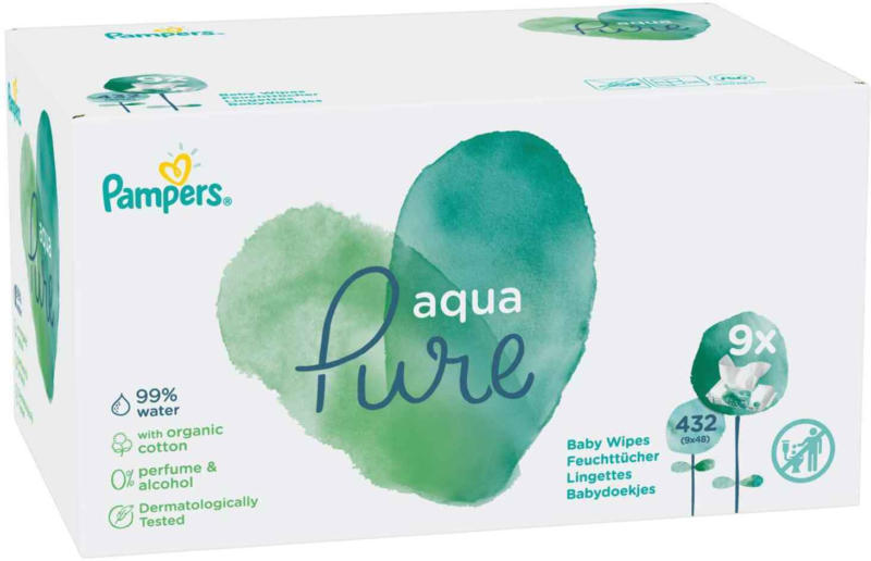 Pampers Aqua Pure Feuchttücher 9 x 48 Tücher -