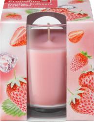 Profissimo Duftkerze mit Glas frostige Erdbeere