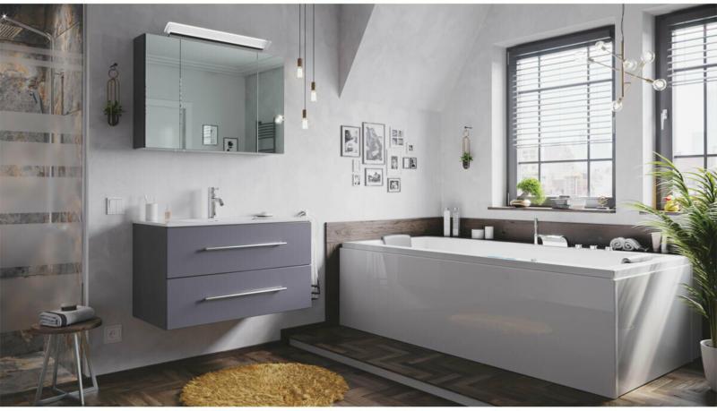 """Badmöbel-Set """"Homeline 90"""", 2-teilig, anthrazit seidenglanz, inkl. Spiegelschrank, mit Design LED-Lampe schwarz"""