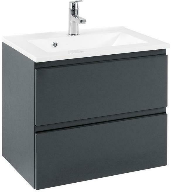 Waschtisch Hängend mit Soft- Close Cardiff B: 60 cm Grau