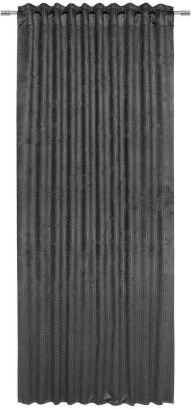 Vorhang mit Ösen und Band Bianca B: 140cm, Anthrazit