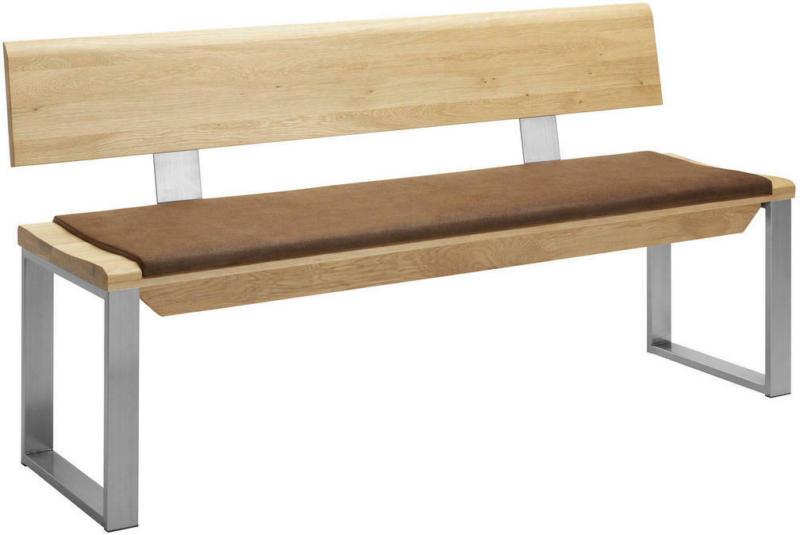 Sitzbank 160/83/54 cm in Braun, Eichefarben, Edelstahlfarben
