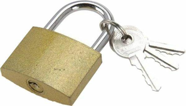 Metallschloss mit 2 Schlüssel