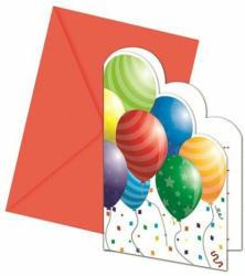 """Einladungskarten """"Ballons"""" metallic 6 Stück inkl. Umschläge"""