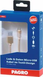 PAGRO Lade & Daten Micro-USB Kabel 1 m gold