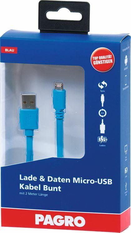 PAGRO Lade & Daten Micro-USB Kabel 2 m blau