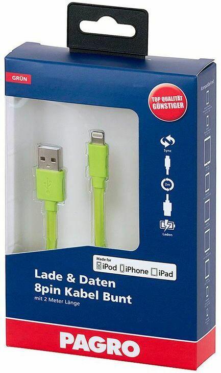 PAGRO Lade & Daten Lightning 8pin Kabel 2 m grün