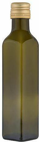 Glasflasche mit Schraubverschluss 250 ml eckig grün