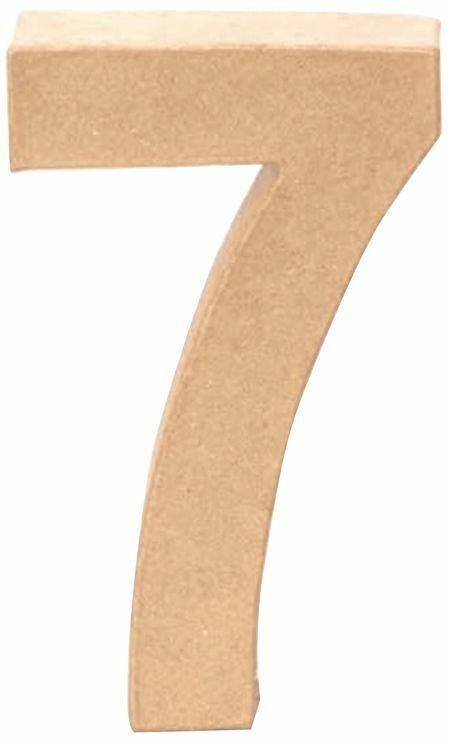 """Papp-Zahl """"7"""" 17,5 cm natur"""